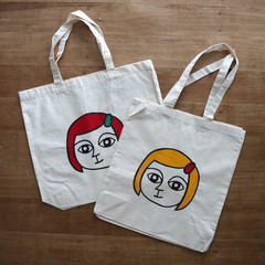 Screen Printed Girl - Natural Organic Cotton • Eco Reusable Shopping Tote Bag