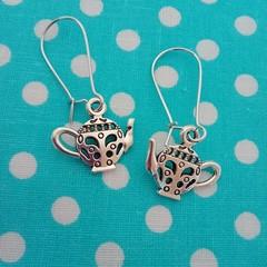 Silver teapot charm earrings