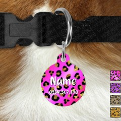 Large Double Sided Pet ID Tag, Leopard, Dog tag, Cat tag, Personalised, Metal, P