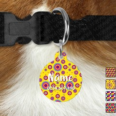 Large Double Sided Pet ID Tag, Bright Geometric, Dog tag, Cat tag, Personalised,