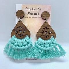 Walnut teardrop mint macrame earrings