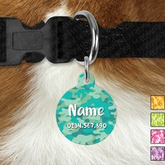 Large Double Sided Pet ID Tag, Dark Camo, Dog tag, Cat tag, Camouflage, Personal