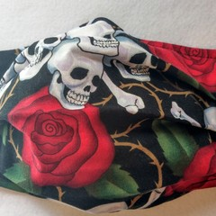 Skulls and Roses facemask: full coverage convertible mask with removable filter