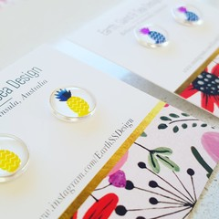 Fruit designs! Glass - Silver Plated Studs
