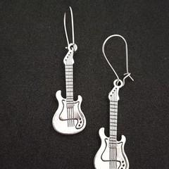 Silver guitar charm / music earrings