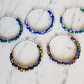 Simple colourful Modern seed bead hoop earrings , Green Blue White Yellow Red