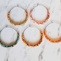 Simple colourful boho seed bead hoop earrings , Red Green White Yellow Orange