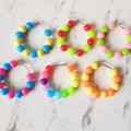 Colourful Plastic bead hoop earrings , Pink Orange Yellow Blue Red Purple Green