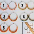 Simple colourful boho seed bead hoop earrings , Red Green White Yellow Orange