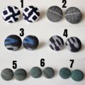Unique Big Round Yukata / Kimono Fabric button stud earrings , Blue White Green