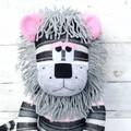 'Lexie' the Sock Lion - grey pink black & white stripes - *READY TO POST*