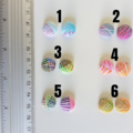 Colourful Unique Modern Small Round striped fabric button Cabochon earrings