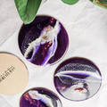 Purple Resin Art Coasters, Coaster Set, Drinkware, Tableware, Housewarming Gift