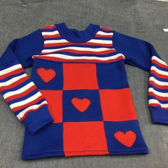 Fleecy Top in Red, White and Blue - Size 2