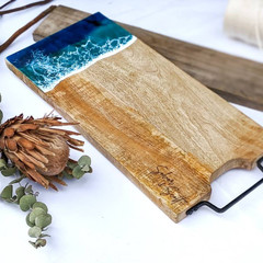 Ocean Resin Art, Resin Cheese Board, Resin Chopping Board, Gift for Couple
