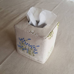 Reversible Square Linen Tissue Box Cover