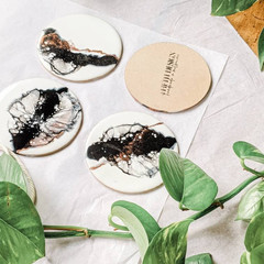 Black and White Resin Art Coasters, Coaster Set, Drinkware, Minimalist Tableware