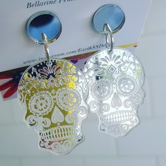 Silver or Gold Skulls - Acrylic Dangle Earrings