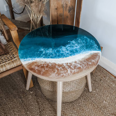 Ocean Resin Coffee Table | Beach Look Art Side Table | Statement Table