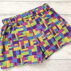 Rainbow Lego Brick Shorts, Size 1 and 3, Girls Shorts