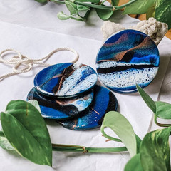 Blue Resin Art Coasters, Coaster Set, Drinkware, Abstract Art Tableware,