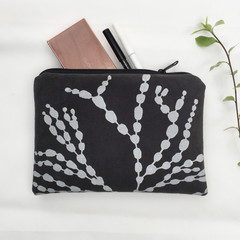 Screen printed 'Bubbleweed' zip pouch