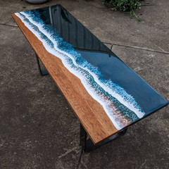 Ocean Art Resin Coffee Table, Long Ocean Table, Resin River Table, Side Table