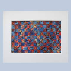 Original Red and Blue Abstract Weaving Artwork Ready to Ship