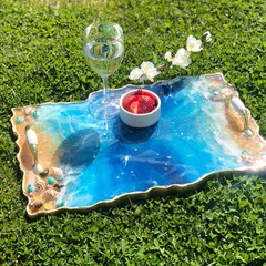 Decorative Resin Tray | Beach Theme Serving Platter | Resin Agate Serving Tray