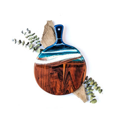 Ocean Resin Wooden Chopping Board, Cheese Board for Beach House Housewarming