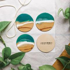 Ocean Resin Art Coasters, Coaster Set, Beach House Decor, Ocean Look Tableware,