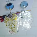 Silver or Gold Skulls - Acrylic Dangle Earrings