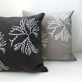 Hand screen printed 'Bubbleweed' cushion cover with feather insert