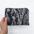 Hand screen printed Eucalyptus pouch