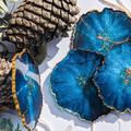 Crystal Geode Resin Coasters, Blue Agate Coaster, Epoxy Resin Art, Housewarming,