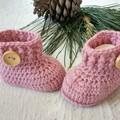 Dusty Rose Handmade Crochet Baby Booties Pregnancy Announcement Baby Reveal