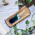 Ocean Resin Art Tray, Industrial Wood Tray, Beach Tableware, Jewellery Tray