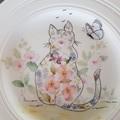 Handpainted Wedgwood plate floral cat