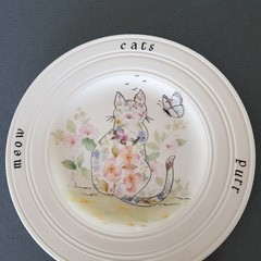 Handpainted Wedgwood plate floral cat