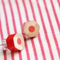 Red earrings handmade from colored pencils - special gift