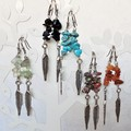 Long Stone chip & Feather charm silver dangling earrings  Blue Black Brown Green