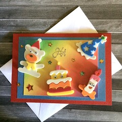 Teddy and Characters with Google Eyes Birthday Card