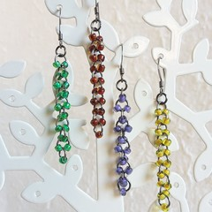 Long Modern bead black linked rings dangling earrings , Yellow Red Green Purple