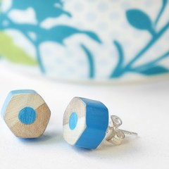 Blue stud earrings handmade from colored pencils - special teacher gift