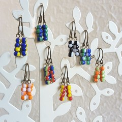 Mixed colour bead short drop earrings , Red Green Blue White Black Yellow Orange