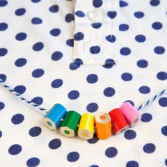 Children's necklace made form coloured pencils, happy and bright :)