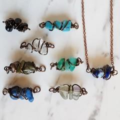 Unique Dainty Minimal Boho gemstone chip wire wrapped bar Necklace