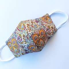 Washable 3 Layer Fabric Face Mask, Cotton/Linen, Brown Paisley