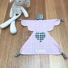 Angel shape baby comforter security blanket blankie in pink & plaid