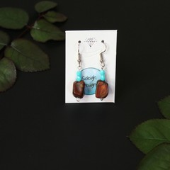 Light blue with brown faux stone beaded earrings